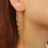 Fashion Charm Crystal Star Tassel Rhinestones Fringe Dangle Ear Stud Earrings