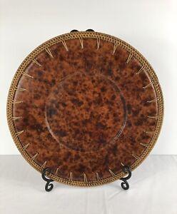 Pier 1 Decorative Tamarin Brown Plate With Wicker Trim W/ Metal Stand