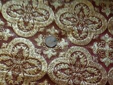 METALLIC BURGUNDY GOLD celtic CROSS VESTMENT  BROCADE FABRIC