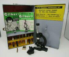 1960'S GILBERT NO 11 MICROSCOPE SET IN ORIGINAL METAL CASE + GLASS VILES GOOD CO