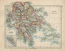 1909 MAP ~ EUROPEAN RUSSIA ~ GREECE ~ MOREA ARCADIA CYCLADES ~ INSET CORFU