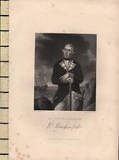 c1830 GEORGIAN PRINT ~ REAR-ADMIRAL RICHARD KEMPENFELT