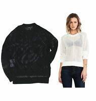 BCBG MAXAZRIA Women Akira Black White Fancy Knitted Jumper Sweater Tops XS S M L