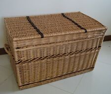 WICKER CHEST STORAGE Trunk Solution Willow Box Lid Toy Blanket Linen Large Shoe