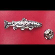 English Pewter BROWN TROUT Fish Pin Badge Tie Pin / Lapel Badge XTSBPF44