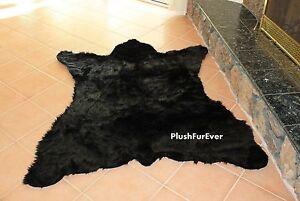 Faux Fur Throw Rug 5' x 6' Black Bear Lodge Cabin Tabin Rustic Carpet Toss Rugs