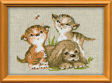 Kittens And A Puppy Counted Cross Stitch Kit
