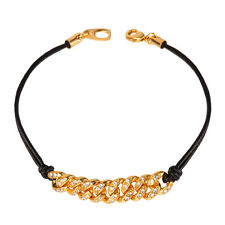 Punk Style Jewelry 18K Gold Plated Genuine Leather Charm Bracelet Wristband Gift
