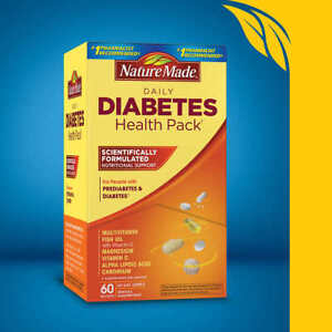 Nature Made Daily DIABETIC Health Pack 60 Packets, Exp 12/2022