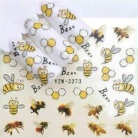 Nail Art Water Decals Stickers Transfers Honeybees Bumble Bees Buzzing Bees 3273
