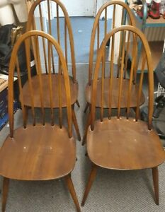 Ercol Quaker 1960 2056 Vintage Dark Wooden Set Of 4x Dining Chairs Collect PE6