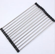 Roll-up Dish Drying Rack Foldable Stainless Steel Over Sink Rack Kitchen Drainer