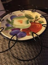 "6"" Collector Plate with Wire Frame Fruit Motif"