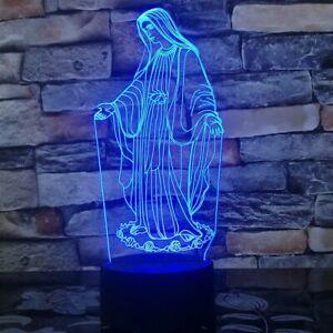 3D LED Blessed Virgin Mary Night Lamp Devotional Articles Santisima Virgen Maria