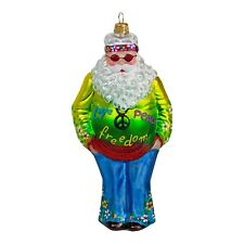 Hippie Father Christmas Glass Christmas Tree Bauble Mouth-Blown Hand Made