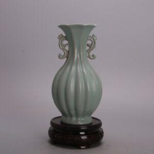 "7.1"" Collect China Jingdezhen Porcelain Green Glaze Melon Arris Dragon Ear Vase"