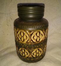 """Retro West German 1970's Green and Brown Vase Abstract Pattern 7.5"""" Tall 289-18"""