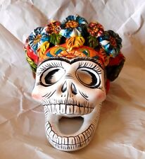 TALAVERA Ceramic Day of the dead Frida Kahlo skull, made in MEXICO