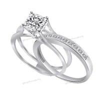 2 Ct Square Princess Cut Engagement Wedding Ring Band Set Solid Sterling Silver