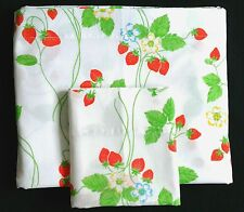 Vintage Cannon Monticello DOUBLE Bedsheet FLAT Plus Pillowcase Red Strawberries