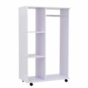 Portable Modern Wardrobe Wooden Closet Storage Shelf Hanging Clothing Rail White