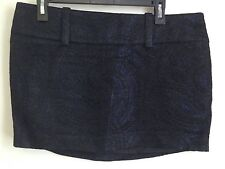 bebe Black and Blue with Silver Threads Tapestry Lined Short Skirt 10