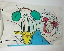 Donald Duck Vtg Pillowcase alarm clock double sided Print Disney Wake Up