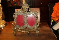 Antique Brass ORNATE Easel Picture Frame Double 4x5 Classical Greek Goddess