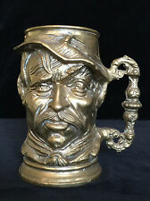 Brass Character Mug Detailed Face Heavy- Tankard Jug Jug Stein Cup Pencil Holder
