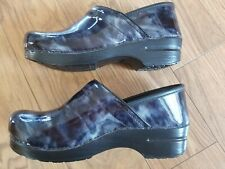 Dansko Womens Clogs Black/Gray Patent Leather Size 40 (9.5-10)