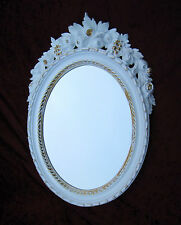 Wall Mirror Oval White-Gold Bathroom Antique 51X37 Shabby Baroque