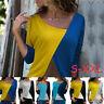 Las mujeres ocasionales de cuello redondo de manga larga Tops Blusas T-shirt ES