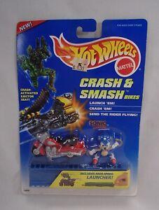 VHTF! HOT WHEELS 1995 Crash & Smash SONIC THE HEDGEHOG motorcycle figure toy MOC