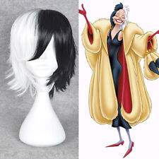CRUELLA DEVIL 101 Dalmatians Cosplay wig short half black white hair full wigs