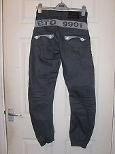ETO DENIM 9901 CONSTRUCTED WITH STYLE TAPERED CUFFED GREY DENIM JEANS 28 NWOT