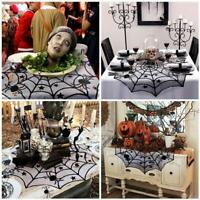 Halloween Party Tablecloth Black Lace Spider Web Cover Table Runner House Decor