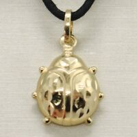 18K YELLOW GOLD ROUNDED LADYBUG PENDANT CHARM 20 MM WORKED & BRIGHT, ITALY MADE