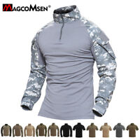 Mens Tactical Long Short Sleeve Army Zipper Camo Shirts Combat Military T-Shirts