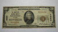 $20 1929 Rockford Illinois IL National Currency Bank Note Bill Ch. #4325 RARE!
