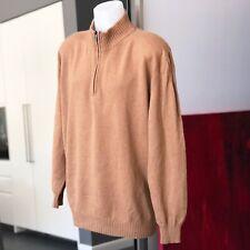 COLOMBO brown 100% camel hair men's zipper henley sweater size IT 54