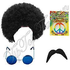 Hippie Hippy Man 1970s Afro Wig Sunglasses Moustache Peace Medallion Fancy Dress