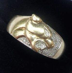 9ct Gold & Diamond Panther Leopard Ring, Size W