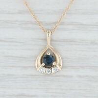 "0.43ctw Sapphire Diamond Pendant Necklace 14k Yellow Gold 16"" Rope Chain"