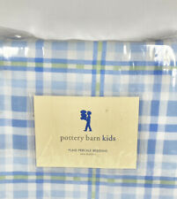 Pottery Barn Kids Twin Blue Plaid Bed Skirt Cotton Green Stripe Percale Bedskirt