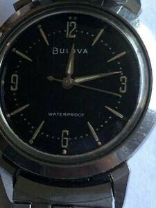 Vintage 1965 Bulova Waterproof Manual Wind Men's Watch black dial