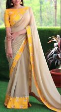 Indian Bollywood Ethnic Designer Yellow Brown Cotton Saree Party Sari Traditiona