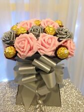 Handmade Ferrero Rocher Chocolate Flower Bouquet Baby Pink and Grey Roses