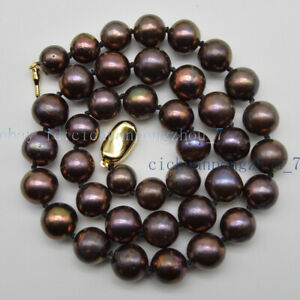 10-12mm Tahitian Brown Black Multi-color Freshwater Round Pearl Necklace 18''