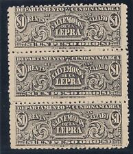 1904 Colombia Cundinamarca mint block of 3 x $1 cigarette duty stamps