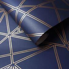 Paladium Papier peint Géométrique Bleu Marine / doré - Holden 90112 NEUF